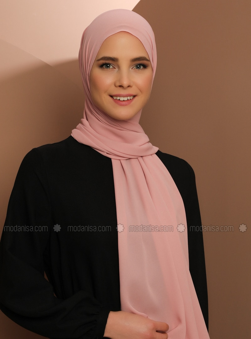 Crepe - Plain - Powder - Shawl -  Şal