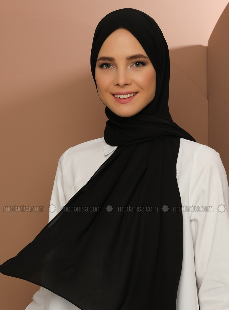 Crepe - Plain - Black - Shawl - Şal