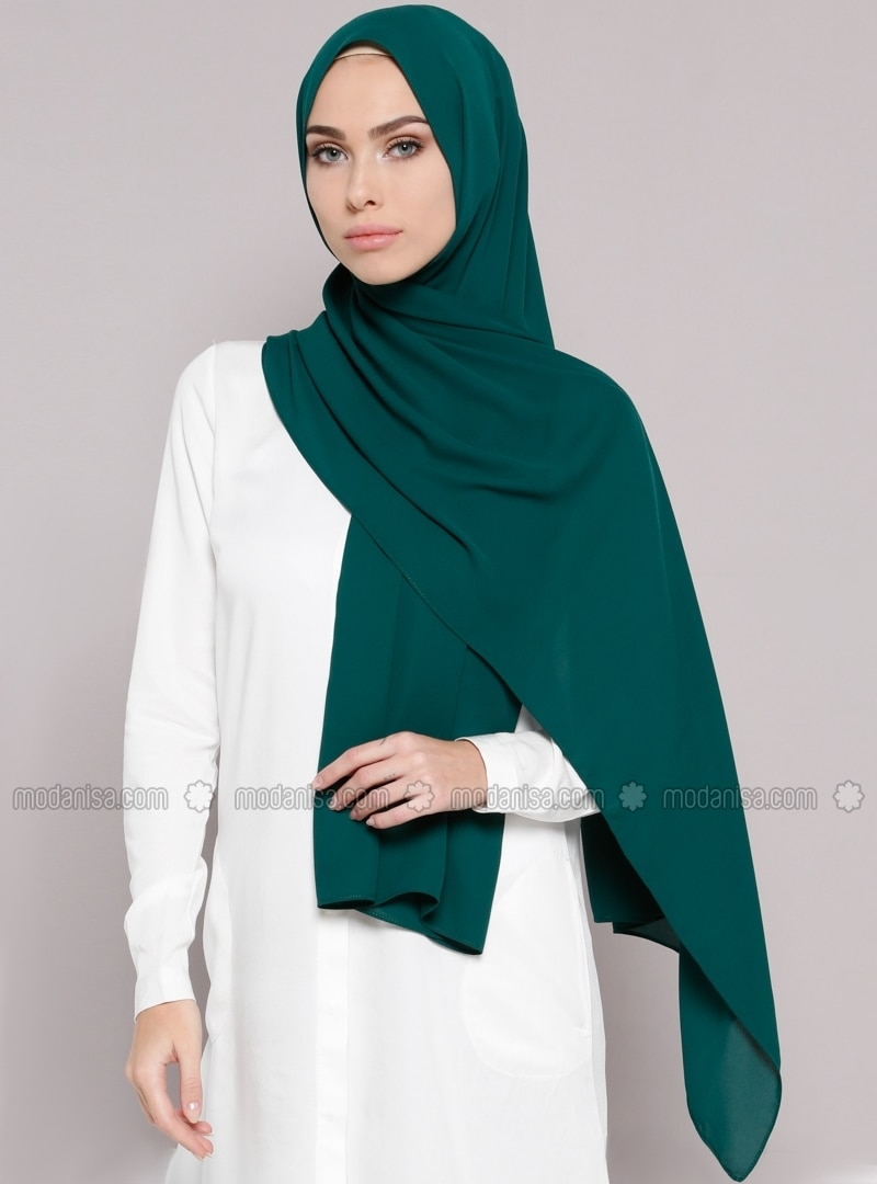 Emerald Green - Plain - Crepe - Shawl -  Şal