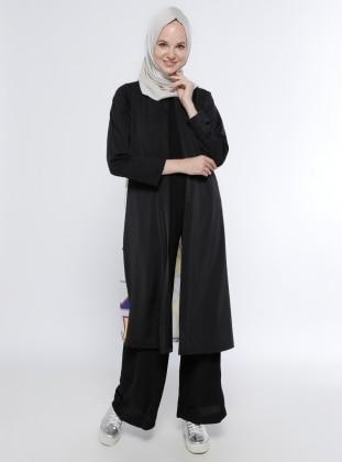 Agraflı Ceket - Siyah Meys