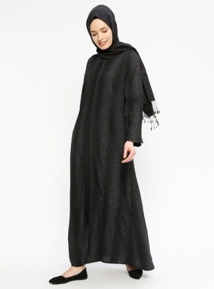 Black - Multi - Unlined - Crew neck - Abaya - ModaNaz 313007