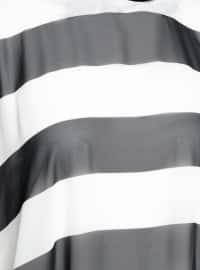 Unlined - Stripe - Ecru - Black - Crew neck - Abaya