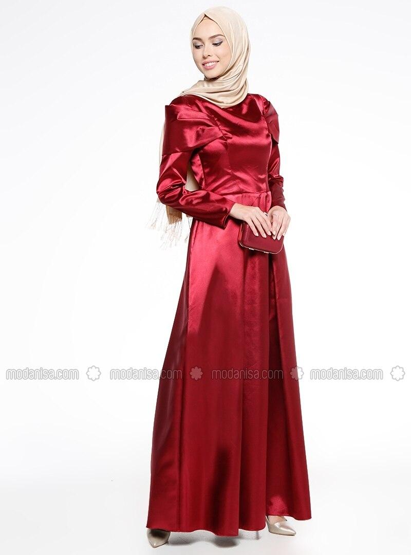 Vestido chino con cuello noche de burdeos de tela forrado vnmNw80