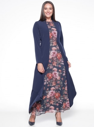 Navy Blue - Floral - Fully Lined - Crew neck - Plus Size Dress