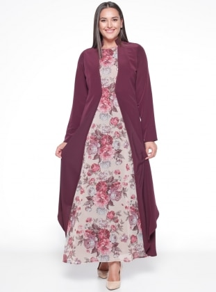 Purple - Floral - Fully Lined - Crew neck - Plus Size Dress