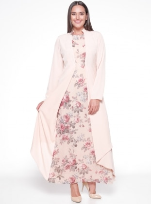 Crew neck - Fully Lined - Floral - Powder - Plus Size Dress