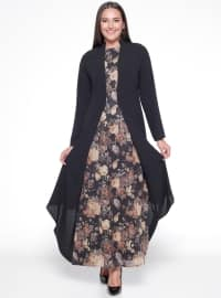 Çiçekli Elbise - Siyah - Sevilay Giyim
