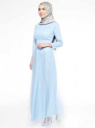 Blue - Fully Lined - Crew neck - Muslim Evening Dress - Mileny 314155