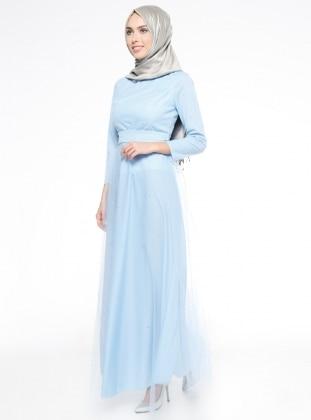 Boncuk İşlemeli Tül Kaplamalı Uzun Abiye Elbise - Bebe Mavi Mileny