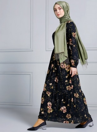 2d8dc7d156 Black - Floral - Point Collar - Fully Lined - Dress