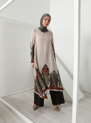 Beige - Multi - Crew neck - Viscose - Tunic