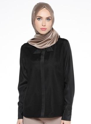 Tül Detaylı Bluz - Siyah Mileny