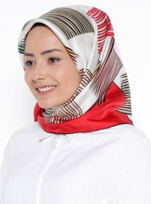 %100 Silk – Twill – Printed – Multi – Red – Scarf – Levi`Dor