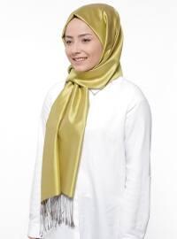 Düz Renkli İpek Şal - Fıstık Yeşili Somon - Silk Home