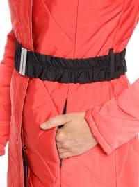 Orange - Fully Lined - Polo neck - Coat