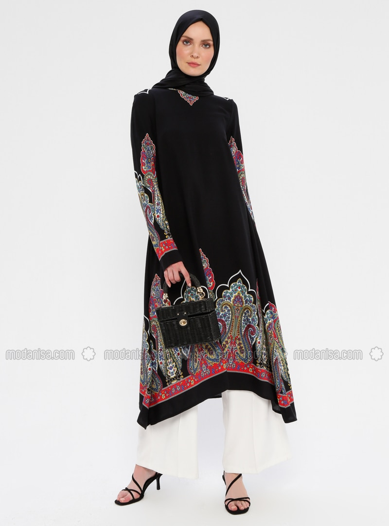 Black - Multi - Crew neck - Viscose - Tunic