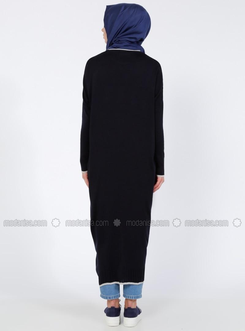 Blue - Crew neck - Acrylic - Cardigan - Everyday Basic