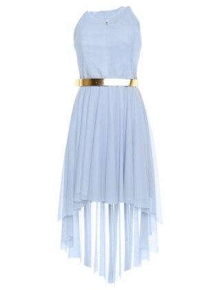 Kemerli Abiye Elbise - Bebe Mavi İroni