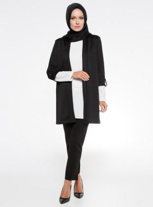 Kol Detaylı Ceket - Siyah İroni