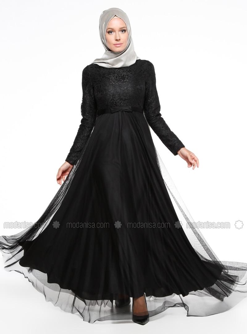 Related pictures armine tak elbise tesett abiye modelleri - Drop Bask L Abiye Elbise Siyah Roni