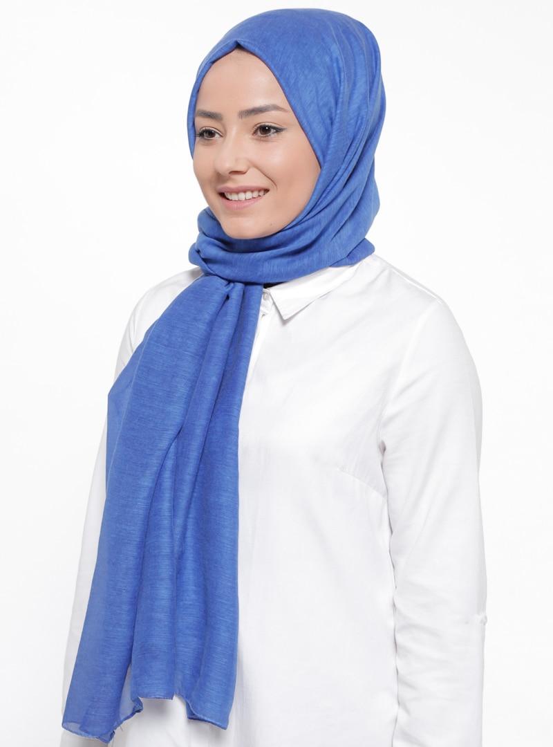 Tesettür %100 İpek Şal Levi`dor Mavi Kadın Standart