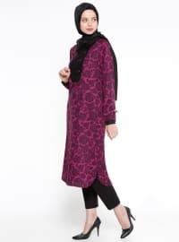 Purple - Floral - Point Collar - Viscose - Tunic