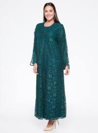 Dantelli Abiye Elbise - Yeşil - he&de