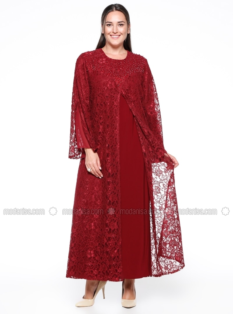Fully Lined Crew Neck Muslim Plus Size Evening Dress Hede