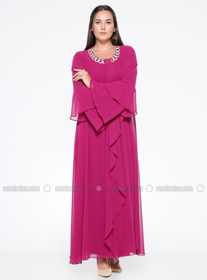 Pink - Unlined - Crew neck - Muslim Plus Size Evening Dress - he&de
