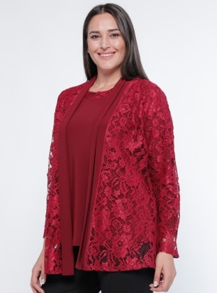 Ceket&Bluz İkili Takım - Bordo Metex