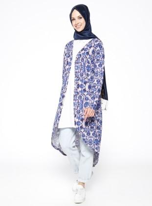 Navy Blue - Multi - Cotton - Cardigan - Muni Muni