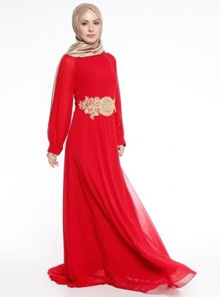 Güpür Detaylı Abiye Elbise - Kırmızı Mileny