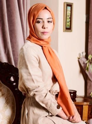 Orange - Plain - Silk Blend - Cotton - Shawl -  Eşarp