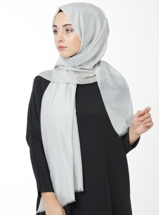 Gray - Plain - Silk Blend - Cotton - Shawl