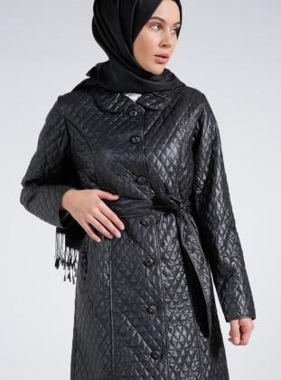 Black - Unlined - Round Collar - Coat - Everyday Basic