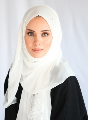 White - Plain - Chiffon - Shawl - Eşarp
