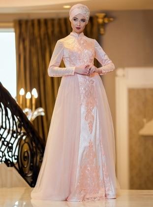 Tül Detaylı Abiye Elbise - Somon Zehrace