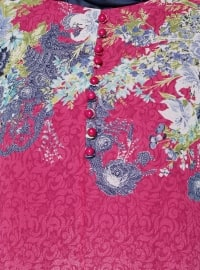 Pink - Multi - Fully Lined - Crew neck - Plus Size Dress