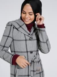 Gray - Stripe - Fully Lined - Shawl Collar - Coat
