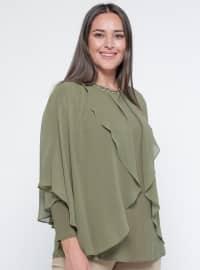 Şifon Parçalı Bluz - Yeşil - Metex