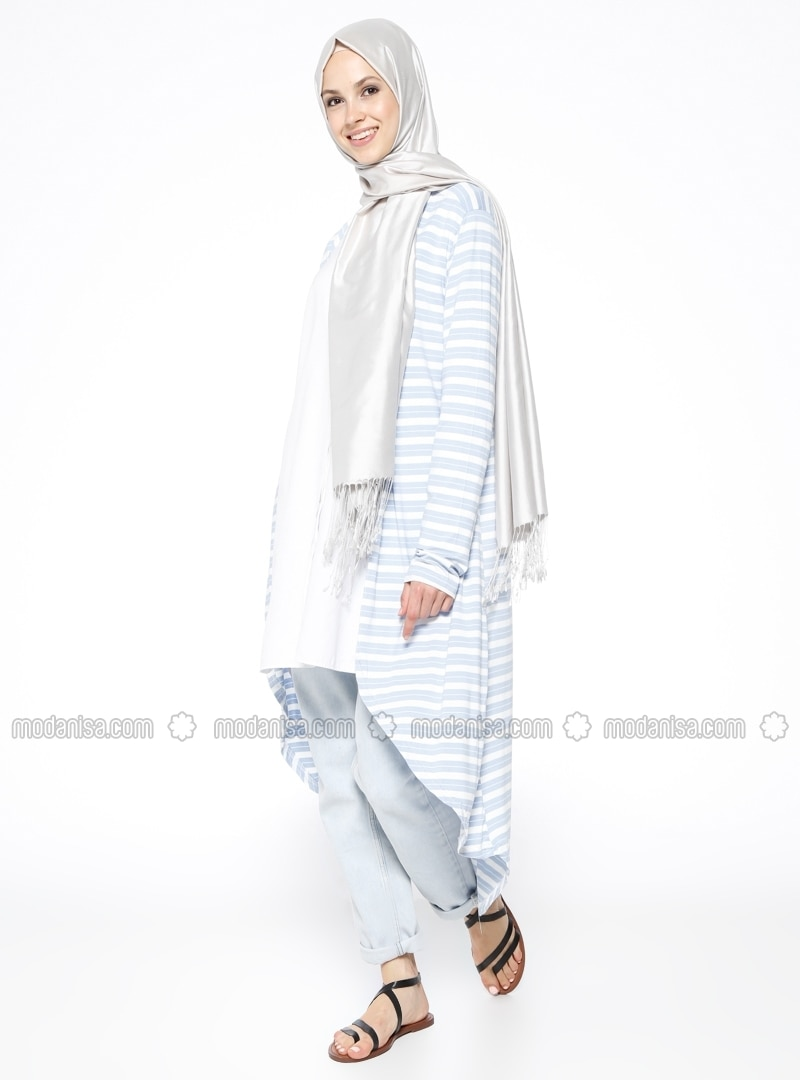 Blue - Ecru - Floral - Cotton - Cardigan - Muni Muni