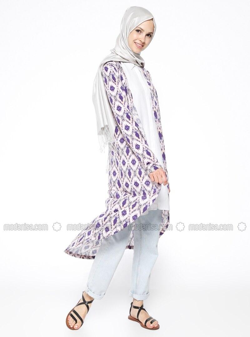Purple - Multi - Cotton - Cardigan - Muni Muni