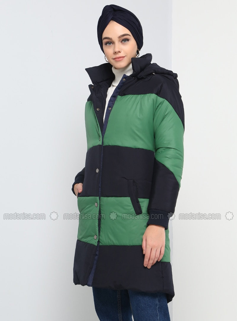 Green - Navy Blue - Fully Lined - Point Collar - Puffer Jackets