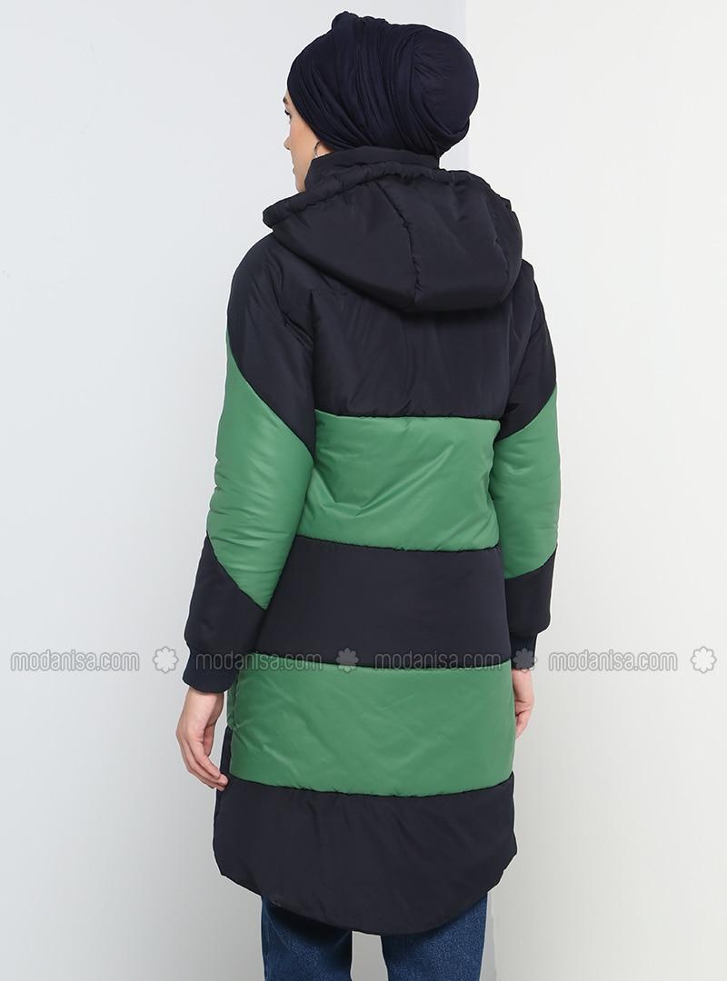 Grün Marineblau Mit Innenfutter Spitzer Kragen Daunenjacke