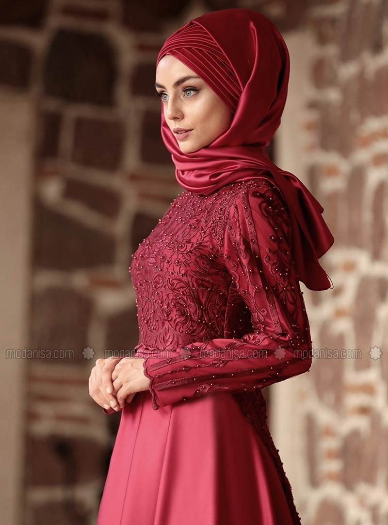 Maroon Fully Lined Crew Neck Muslim Evening Dress