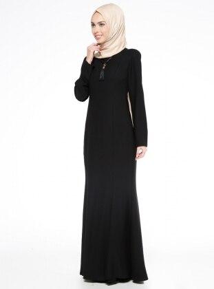 Kolyeli Balık Abiye Elbise - Siyah Mileny