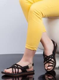 Hasır İp Sandalet - Siyah - Ayakkabı Havuzu