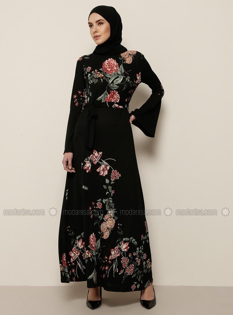 Black - Pink - Multi - Crew neck - Unlined - Dress