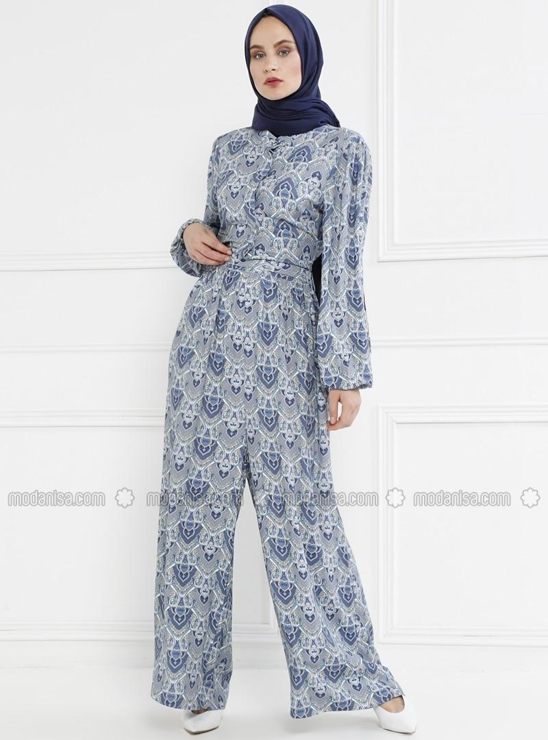 690e9552ebb Blue - Floral - Unlined - Button Collar - Jumpsuit