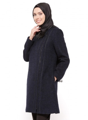 Navy Blue - Fully Lined - Crew neck - Coat - Esswaap 316796